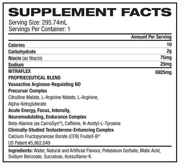 Nutrition Facts For GAT Nitraflex RTD 295ml Raspberry Ice