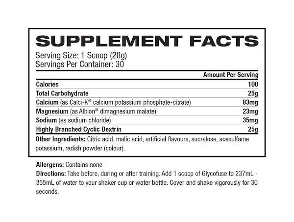 Nutrition Facts For Gaspari Glycofuse