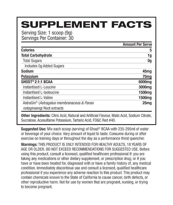 Nutrition Facts For Ghost BCAA 30 Serve