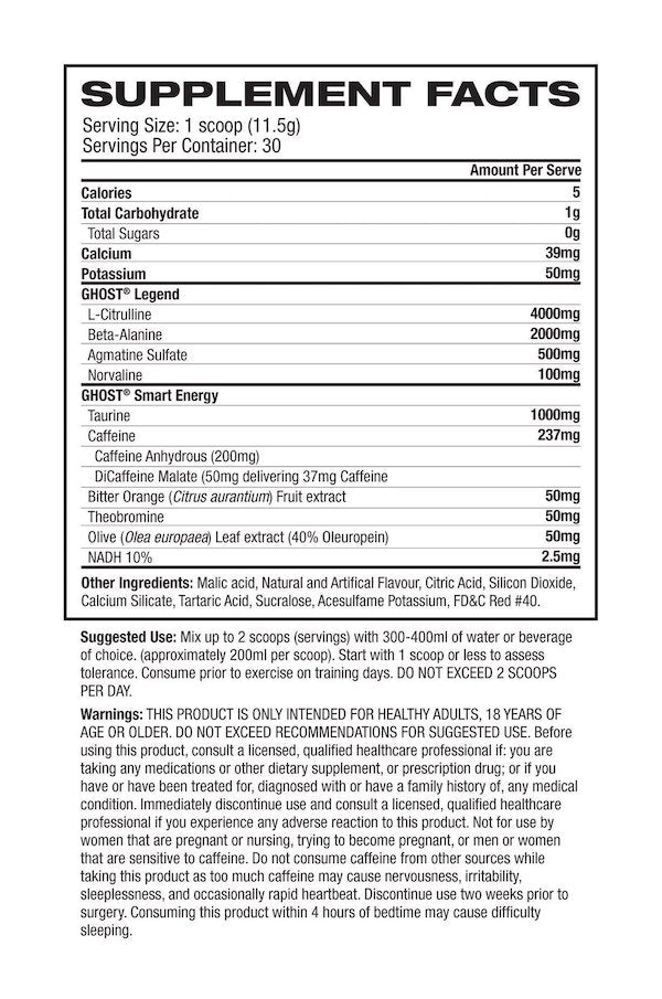 Nutrition Facts For Ghost Legend Pre Workout 30 Serve