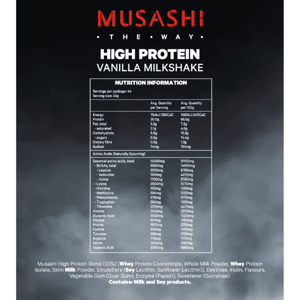 Nutrition Facts For Musashi High Protein 2kg