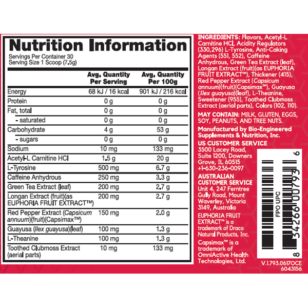 Nutrition Facts For BSN Hyper Shred 30 Serve