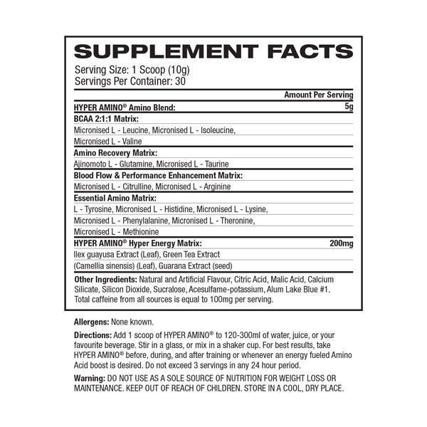 Nutrition Facts For Gaspari Hyper Amino 30 Serve