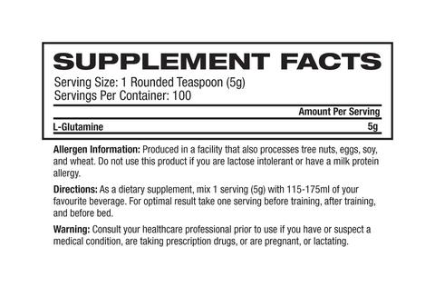 Nutrition Facts For Inner Armour Creatine 500g