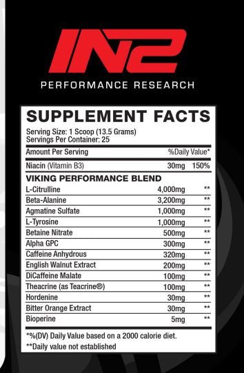 Nutrition Facts For IN2 Performance - KRUSH Pre-Workout