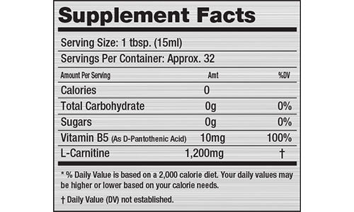 Nutrition Facts For Inner Armour Liquid Carnitine