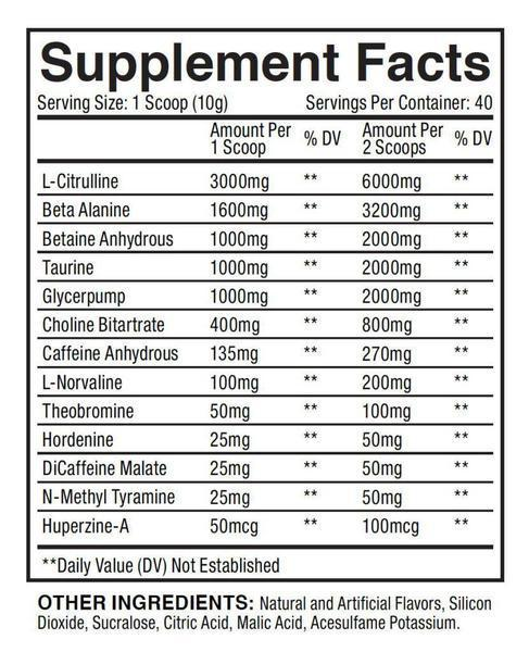 Nutrition Facts For Loaded Pre Workout