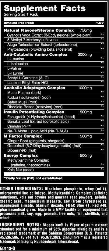 Nutrition Facts For Universal Animal M Stak