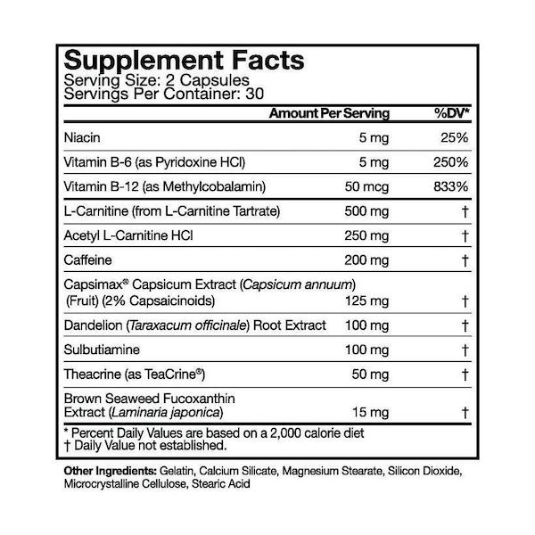 Nutrition Facts For Musclepharm Shred Sport 60 Caps