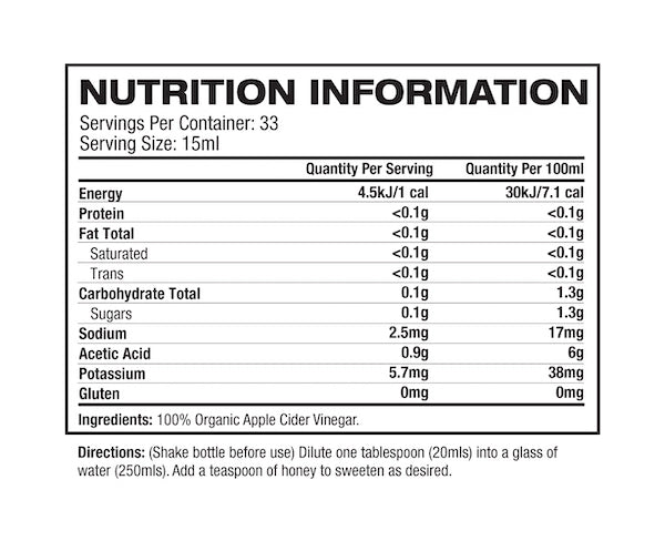 Nutrition Facts For Melrose Apple Cider Vinegar Double Strength 500ml