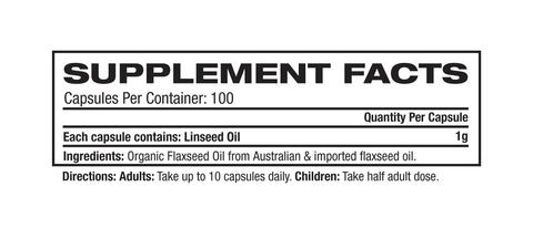 Nutrition Facts For Melrose Flaxseed Oil Organic 100 Caps