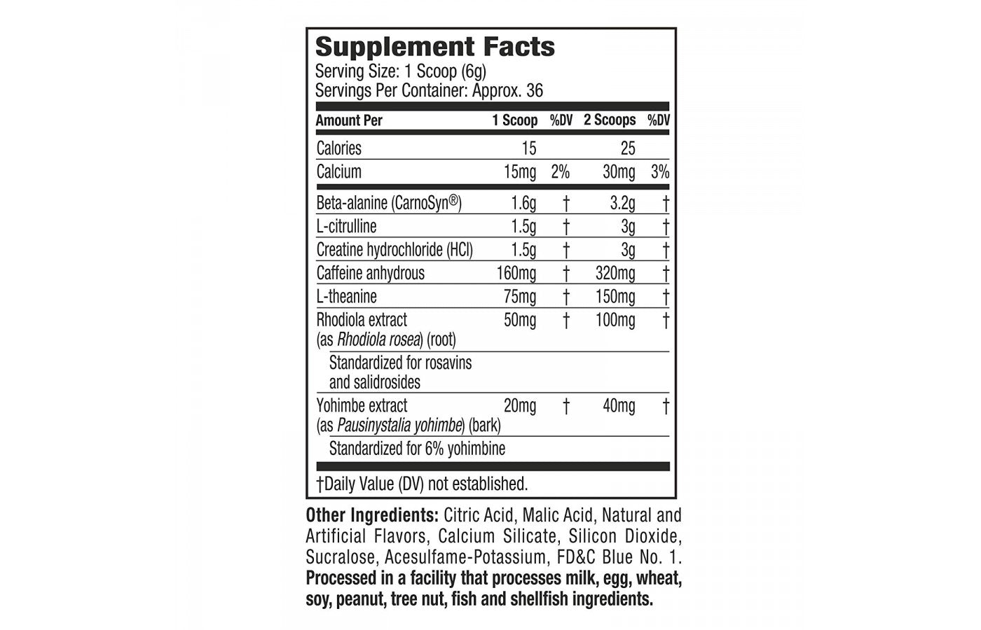Nutrition Facts For Muscletech Neurocore Preworkout 50 Serve