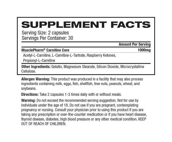 Nutrition Facts For MusclePharm Carnitine
