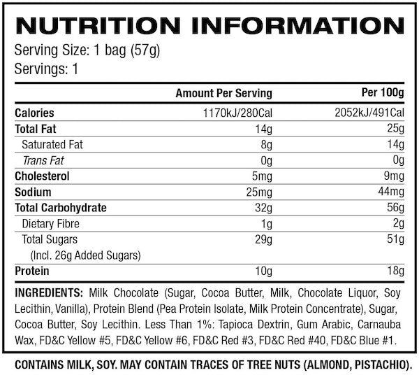 Nutrition Facts For MusclePharm Protein Candies