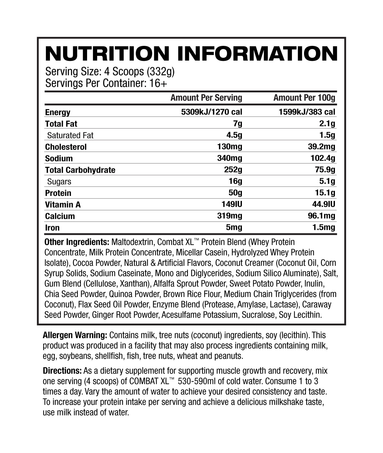 Nutrition Facts For MusclePharm Combat XL Gainer 2.7kg