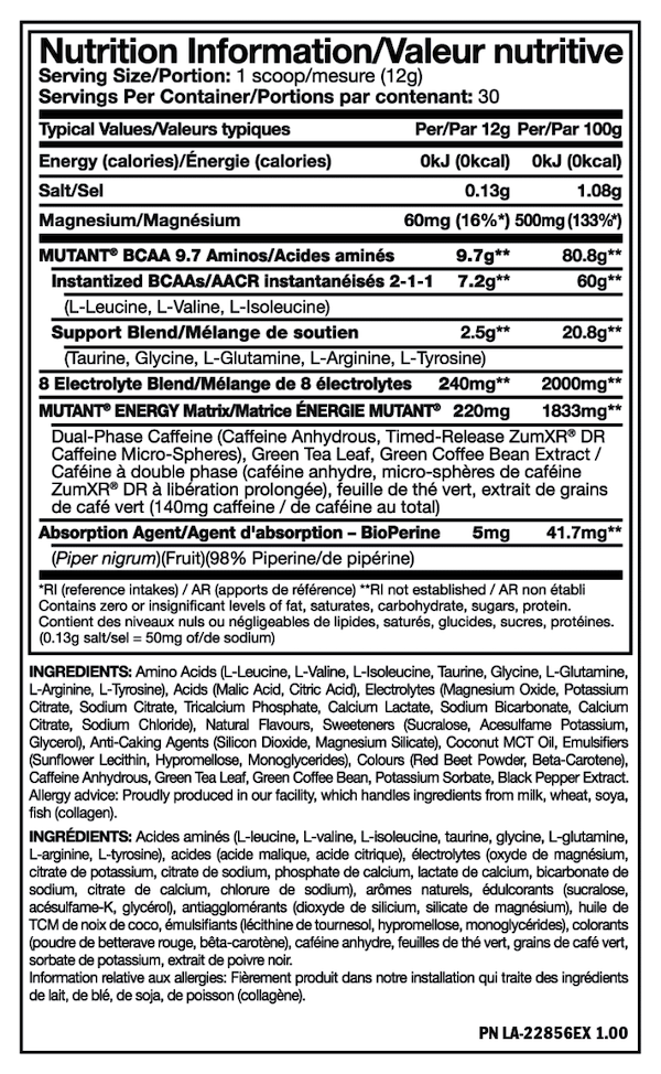 Nutrition Facts For Mutant BCAA Energy