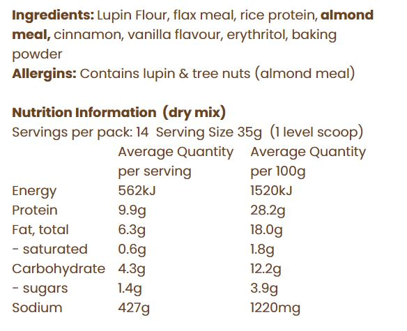 Nutrition Facts For Nothing Naughty Protein Pancake Mix 500g