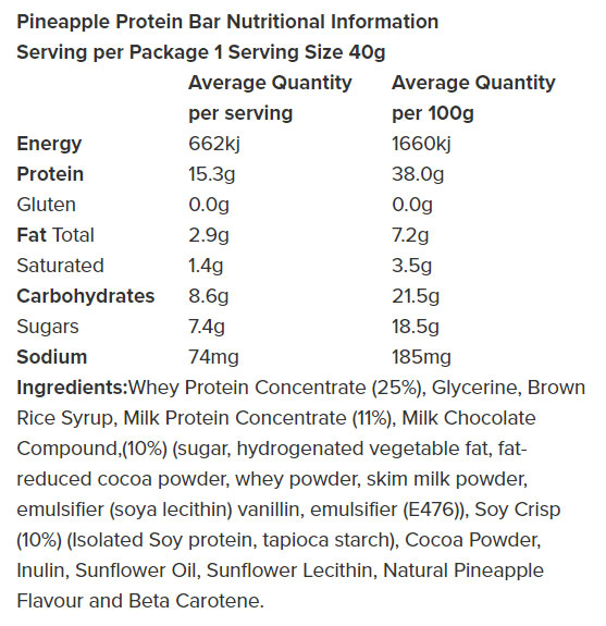 Nutrition Facts For Nothing Naughty Bars Box Of 12