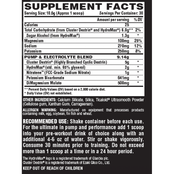 Nutrition Facts For Nutrex N Vein Pump