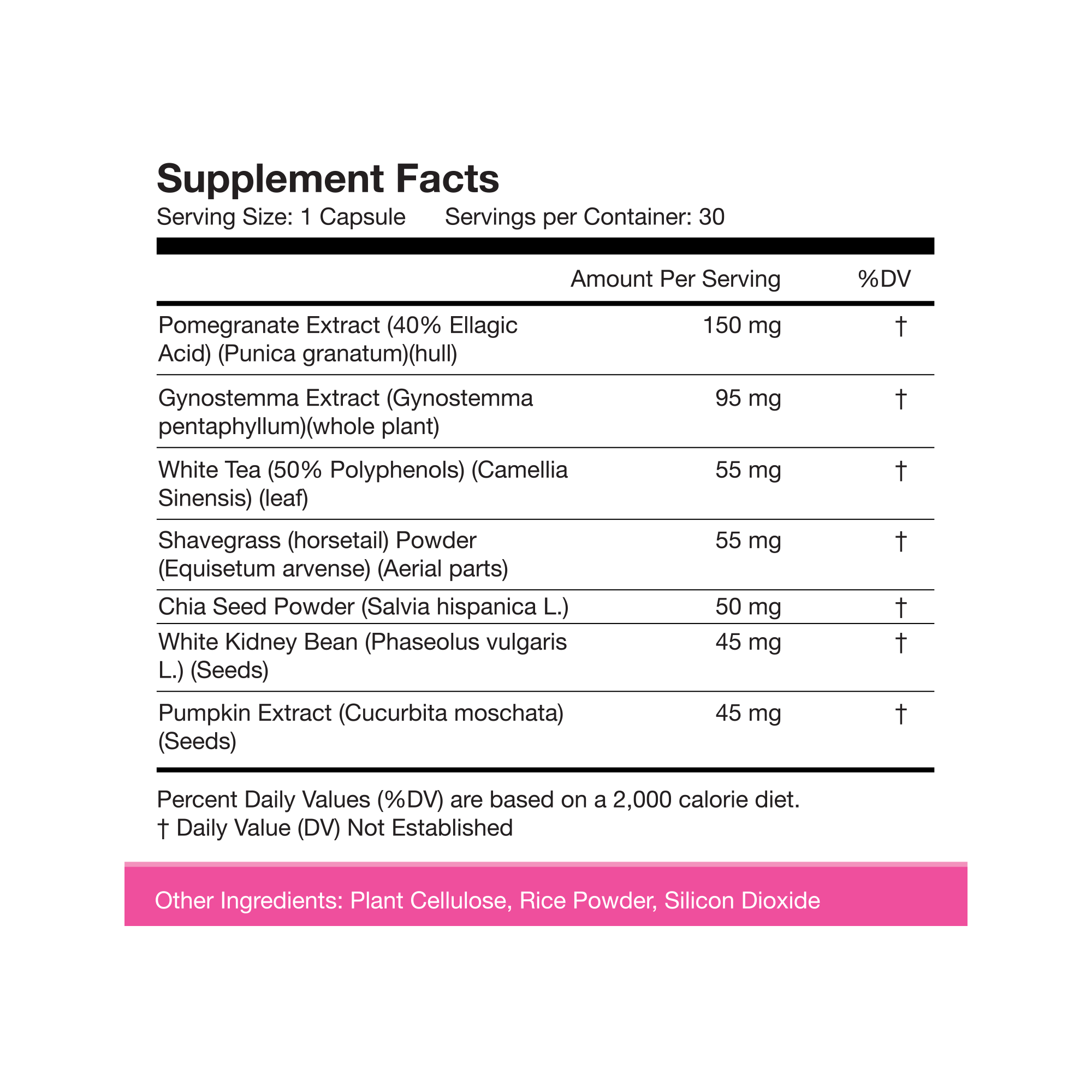 Nutrition Facts For Obvi. Vegan Collagen 30 Caps