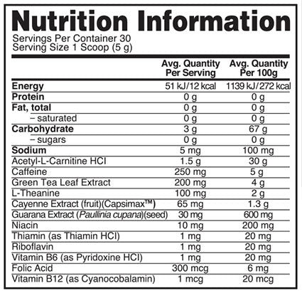 Nutrition Facts For Optimum Nutrition Burn Complex Thermo Protein