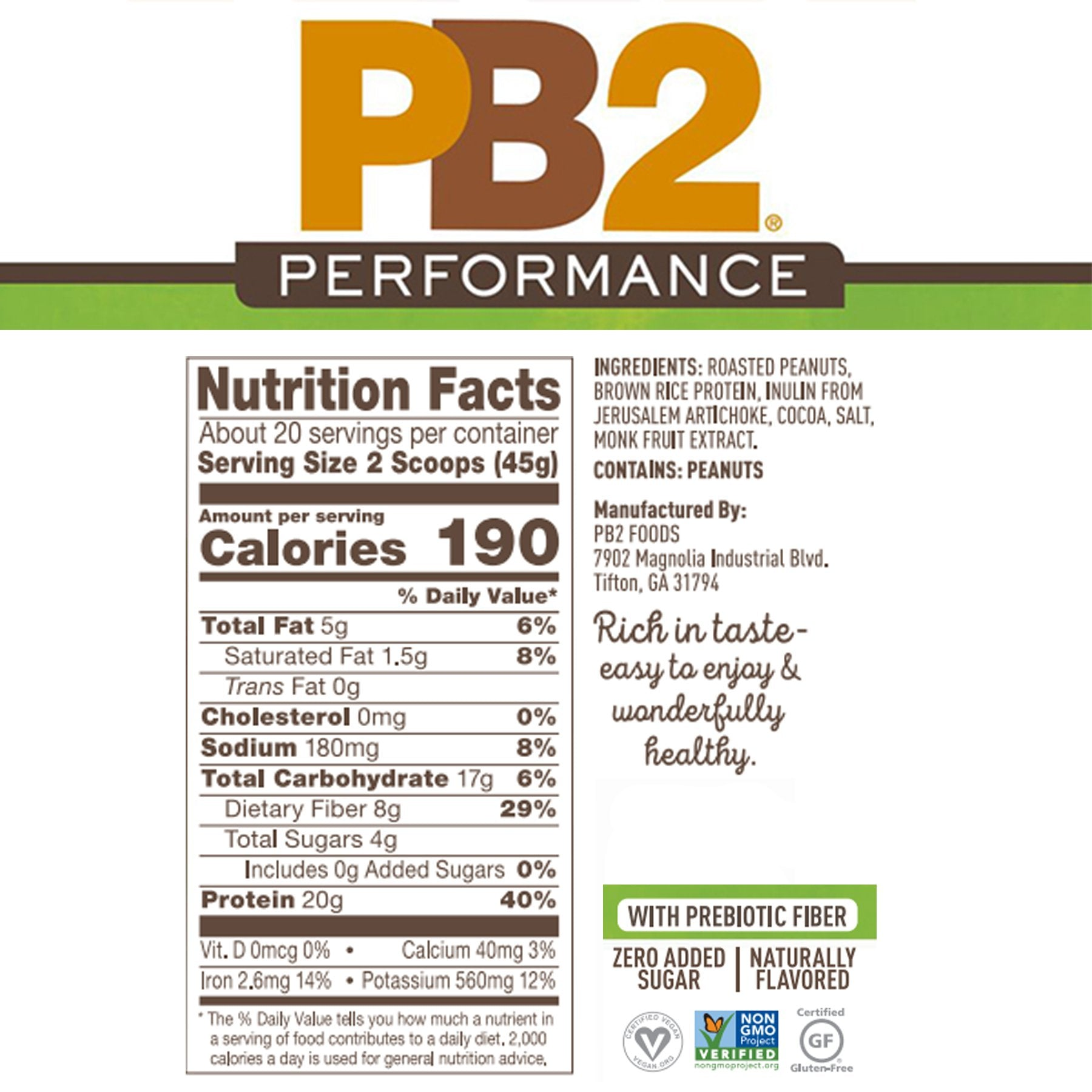 Nutrition Facts For PB2 Performance Peanut Protein