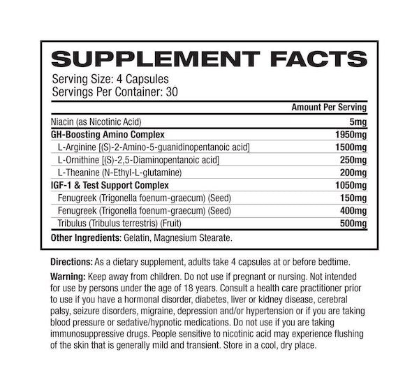 Nutrition Facts For PharmaFreak GH Freak 2.0