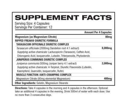Nutrition Facts For PharmaFreak Ripped Freak DIURETIC 60 Caps (Clearance)