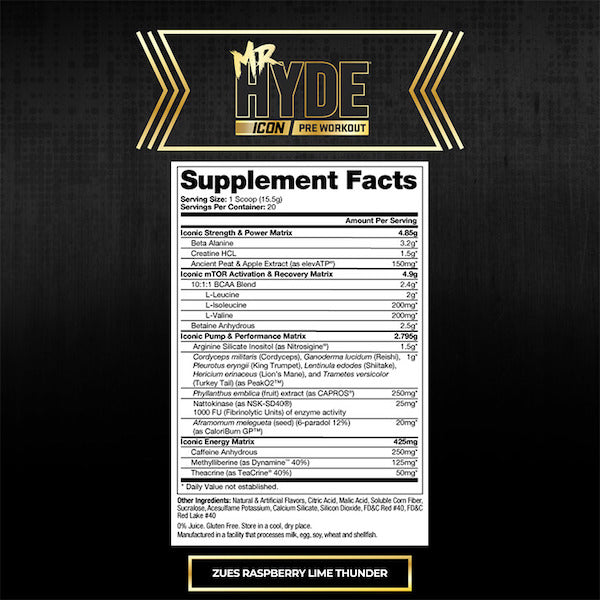 Nutrition Facts For Pro Supps Mr Hyde Icon Pre-Workout