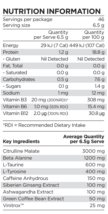 Nutrition Facts For PranaOn Pure Boost Pre-Workout