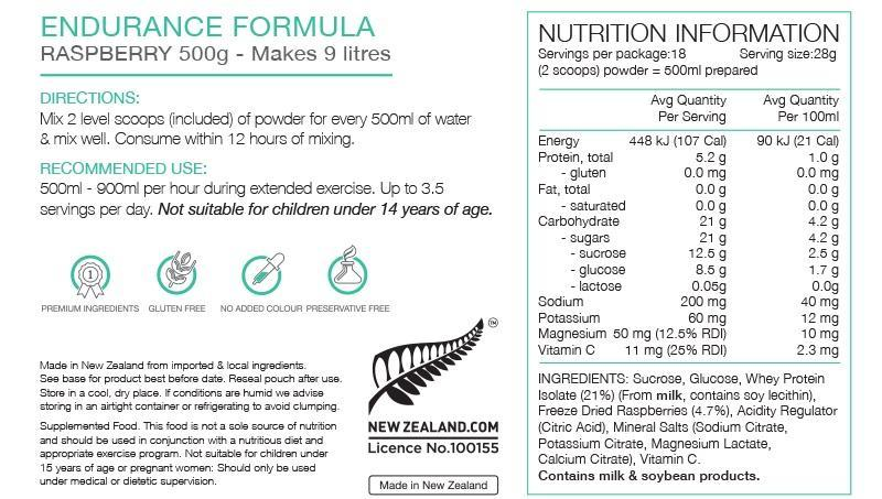Nutrition Facts For PURE Endurance Formula 500g