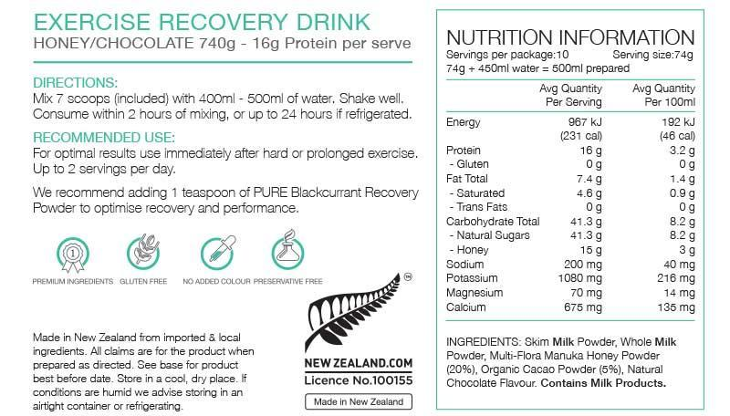 Nutrition Facts For PURE Exercise Recovery 740g