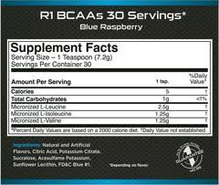 Nutrition Facts For Rule 1 BCAA 30 Serves