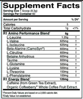 Nutrition Facts For Rule 1 Pre Amino