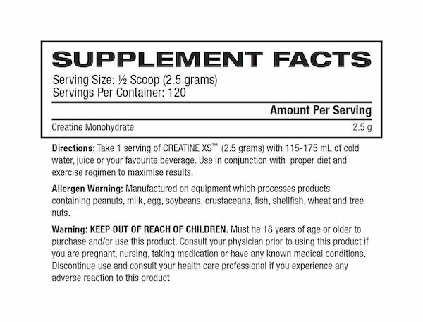 Nutrition Facts For Ronnie Coleman Creatine XS 300g