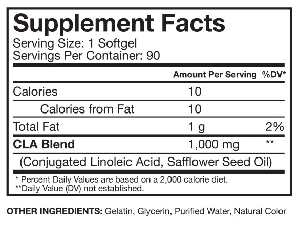 Nutrition Facts For RSP Nutrition CLA 90 Caps