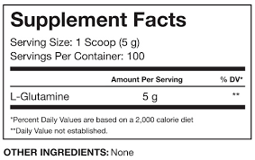 Nutrition Facts For RSP Nutrition Glutamine 500g