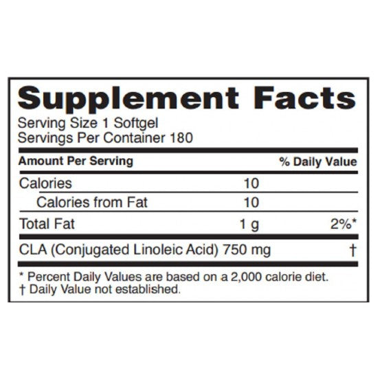 Nutrition Facts For RSP Nutrition CLA 180 Caps