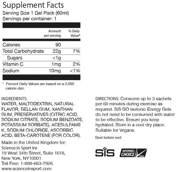 Nutrition Facts For SiS Go Isotonic Energy 6 pack