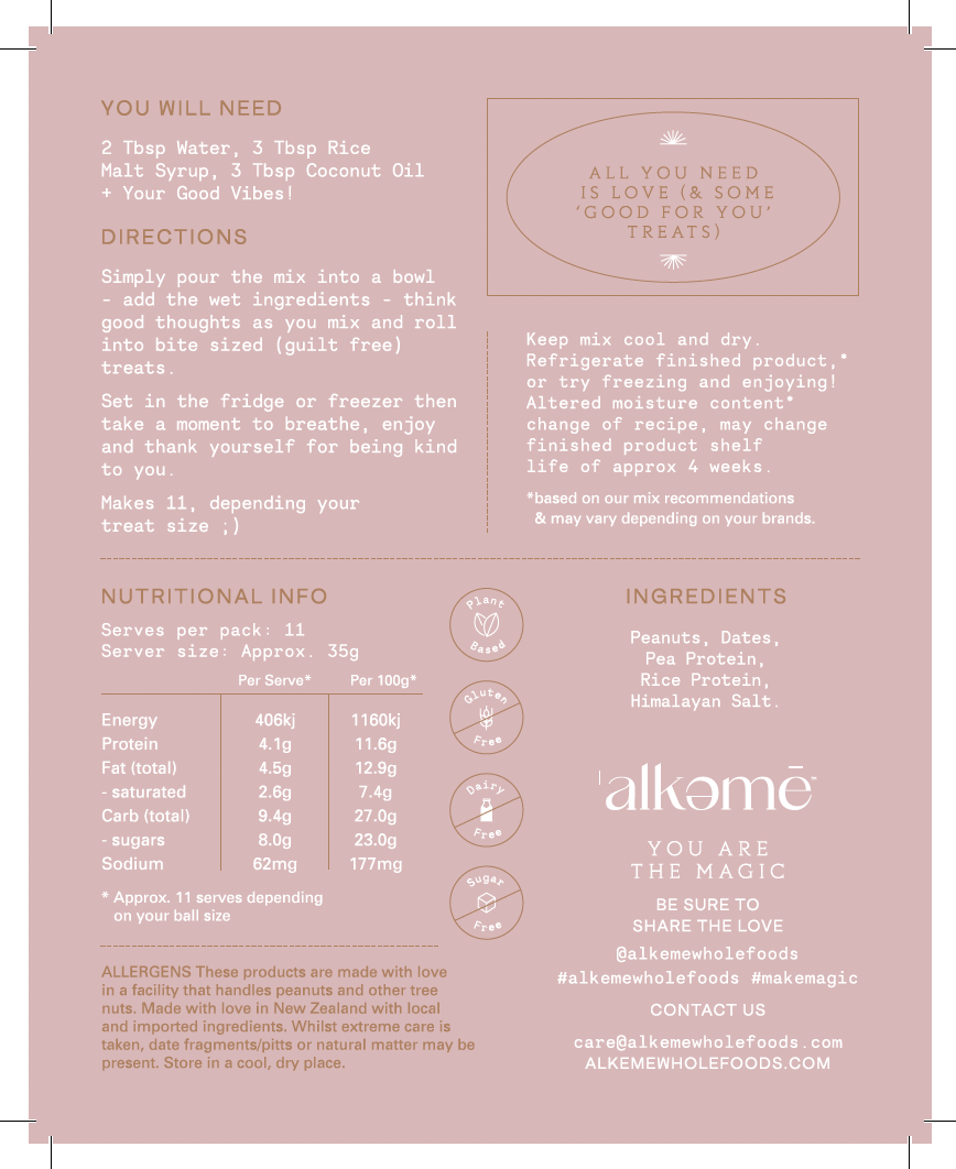 Nutrition Facts For Alkeme Wholefoods Treat Mix