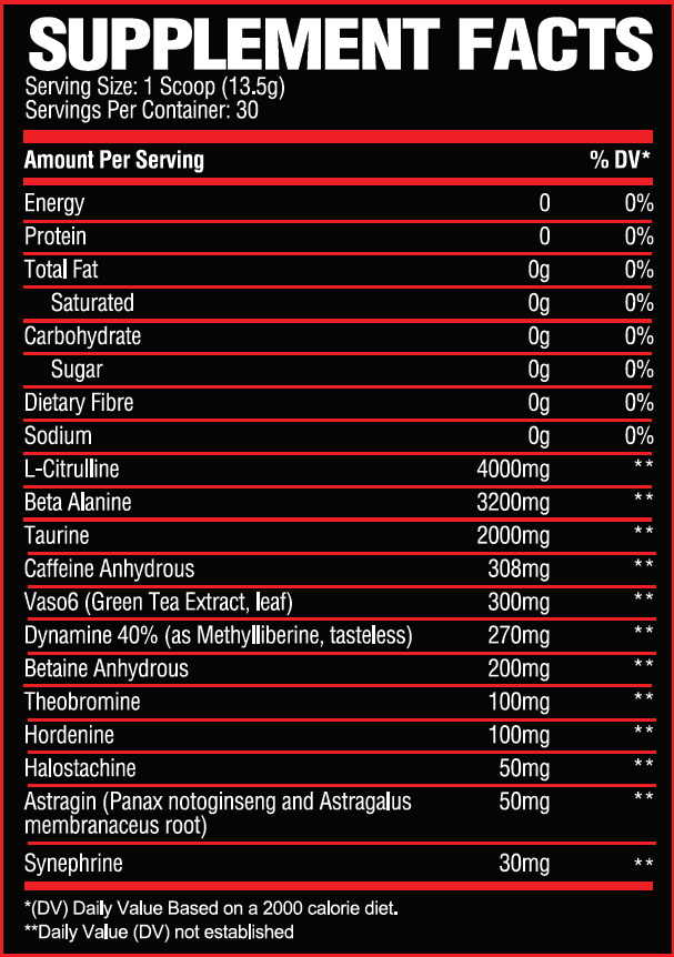 Nutrition Facts For Sicario Pre-Workout
