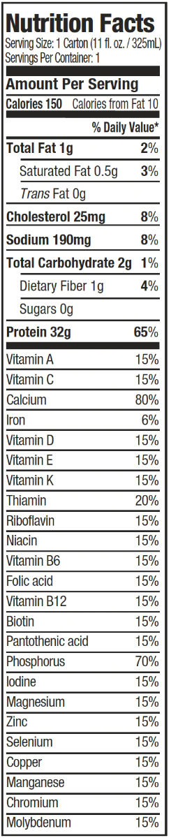 Nutrition Facts For Muscletech Clean Protein Shake 6 Serve 1.89L (Vanilla Flavour)