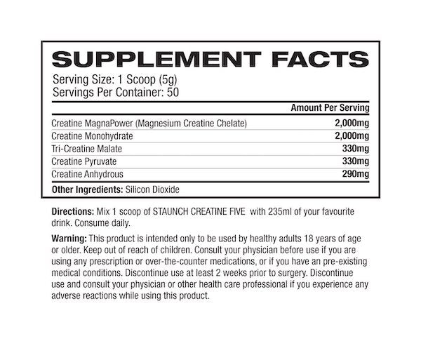 Nutrition Facts For Staunch Creatine Five 50 Serve