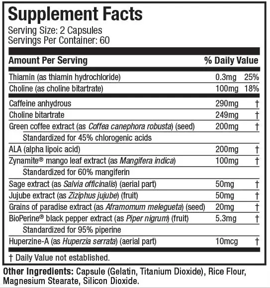 Nutrition Facts For Muscletech Hydroxycut Hardcore Super Elite