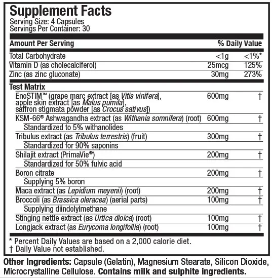 Nutrition Facts For Muscletech Test HD Elite