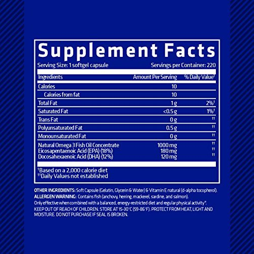 Nutrition Facts For USN Fish Oils 90 Caps