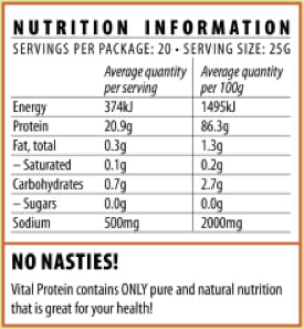 Nutrition Facts For Vital Pea Protein 1kg