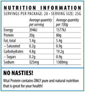 Nutrition Facts For Vital Pea Protein 250g Vanilla