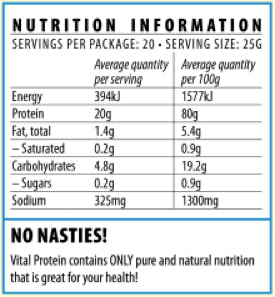 Nutrition Facts For Vital Pea Protein 500g