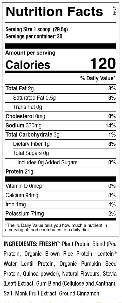 Nutrition Facts For ANS Performance FRESH1 Vegan Protein 2lb